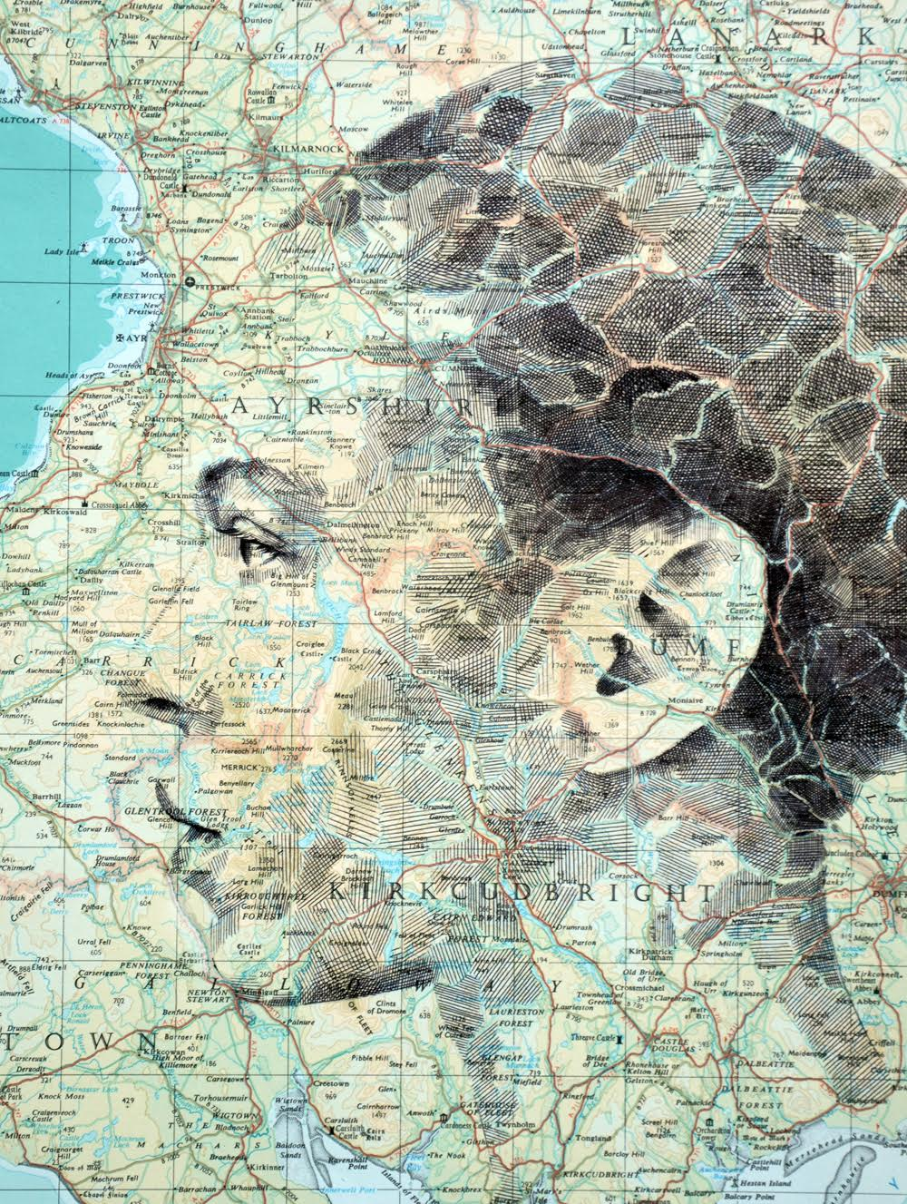 Ed Fairburn Map Portraits - Lanarkshire