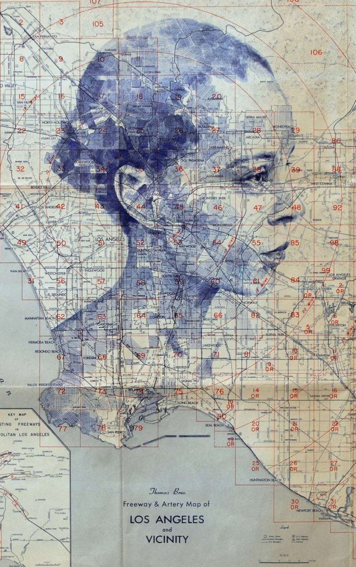 Ed Fairburn Creates Portrait Drawings On Street Map Canvas  — Unique And Beautifully Rendered