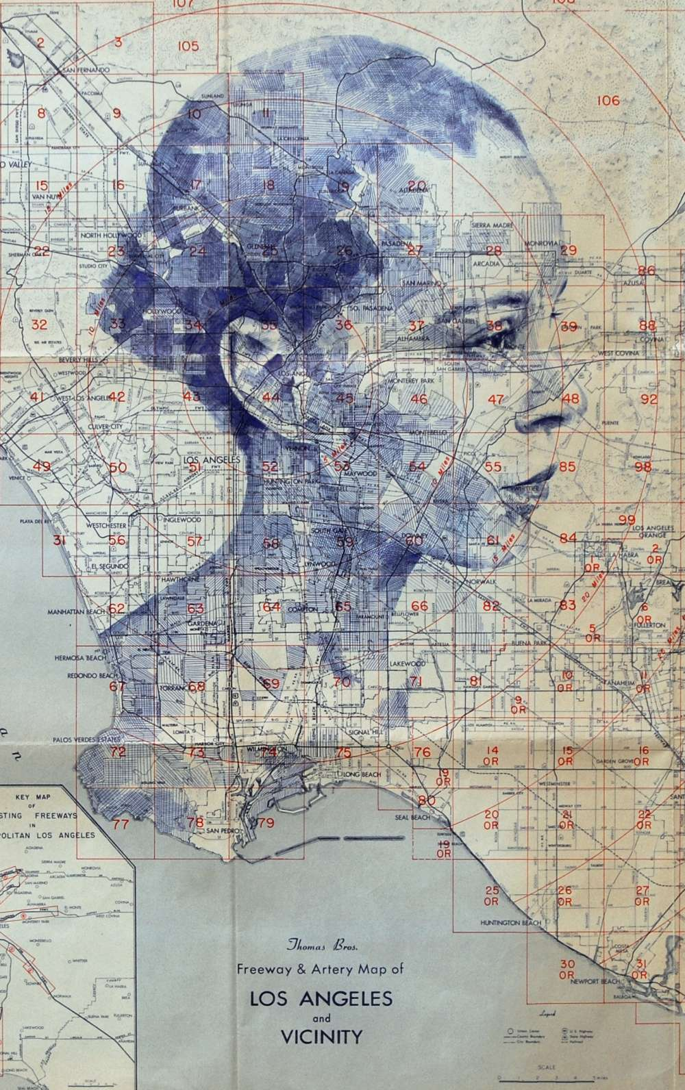 Ed Fairburn Map Portraits – Los Angeles Westbound
