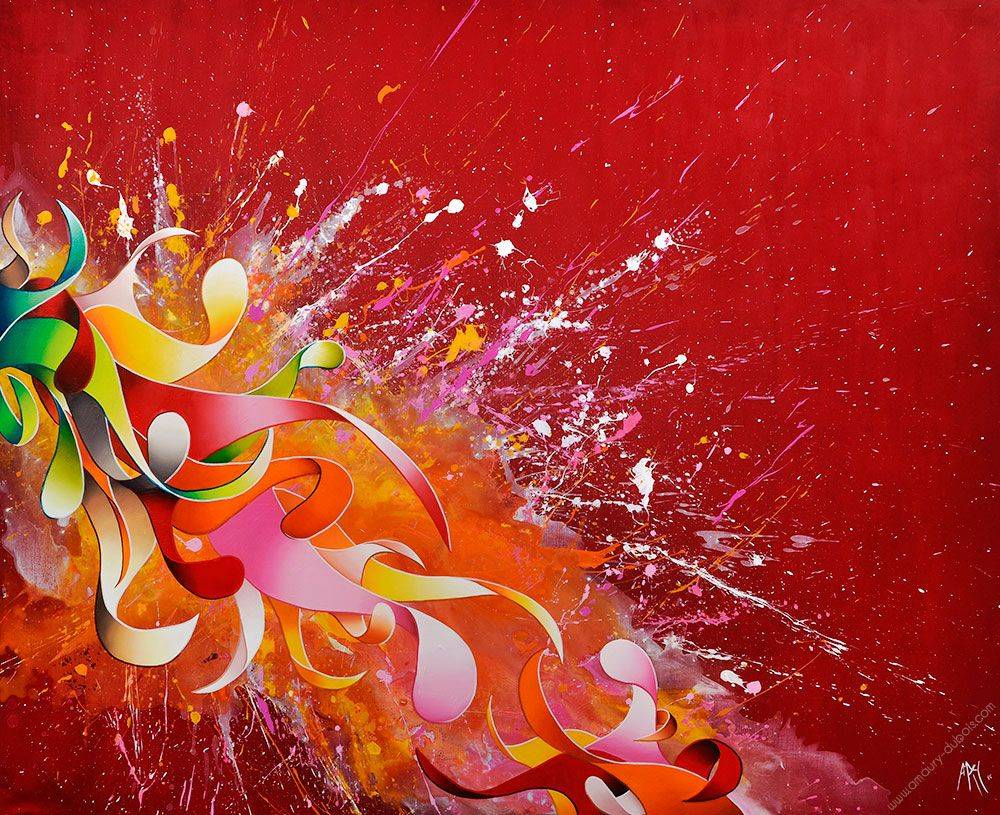 Amaury Dubois Abstract Painting_Cherry-red