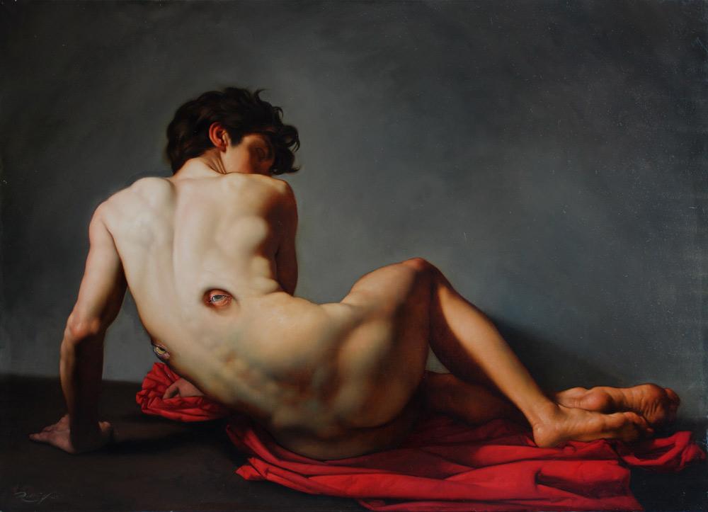 Roberto Ferri Paintings_IL SOSPETTO olio su tela 100x140cm anno 2015