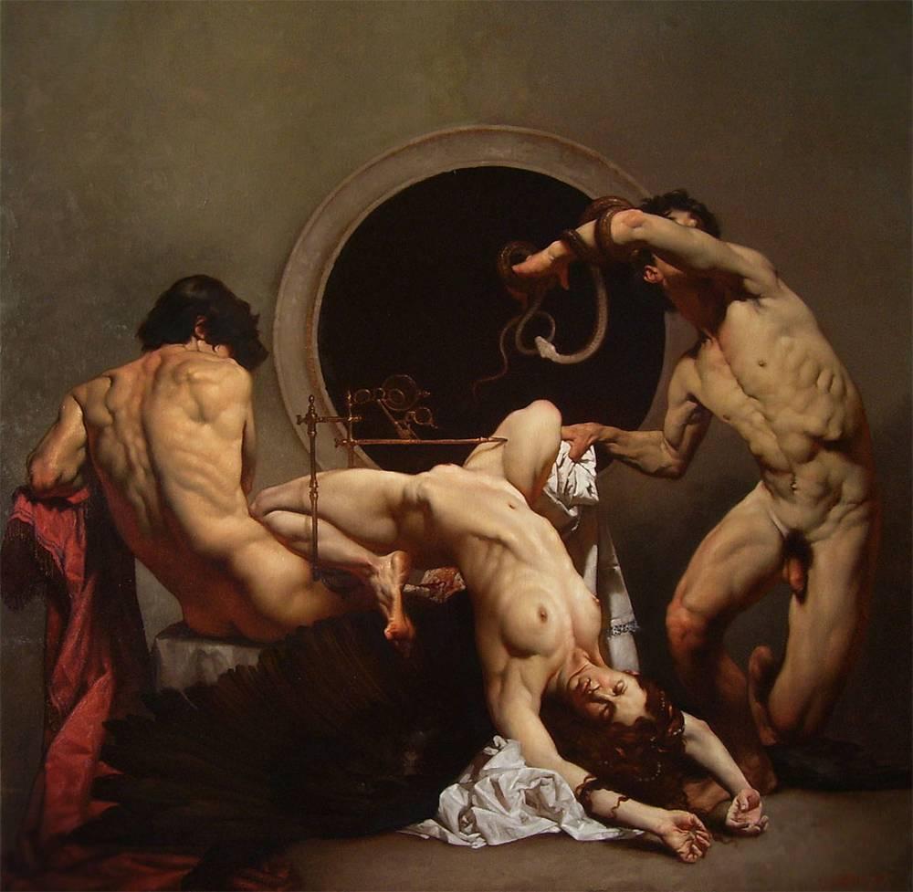 Roberto Ferri Paintings_LA NASCITA DELL'ECLISSI OLIO SU TELA 80 X 80 CM