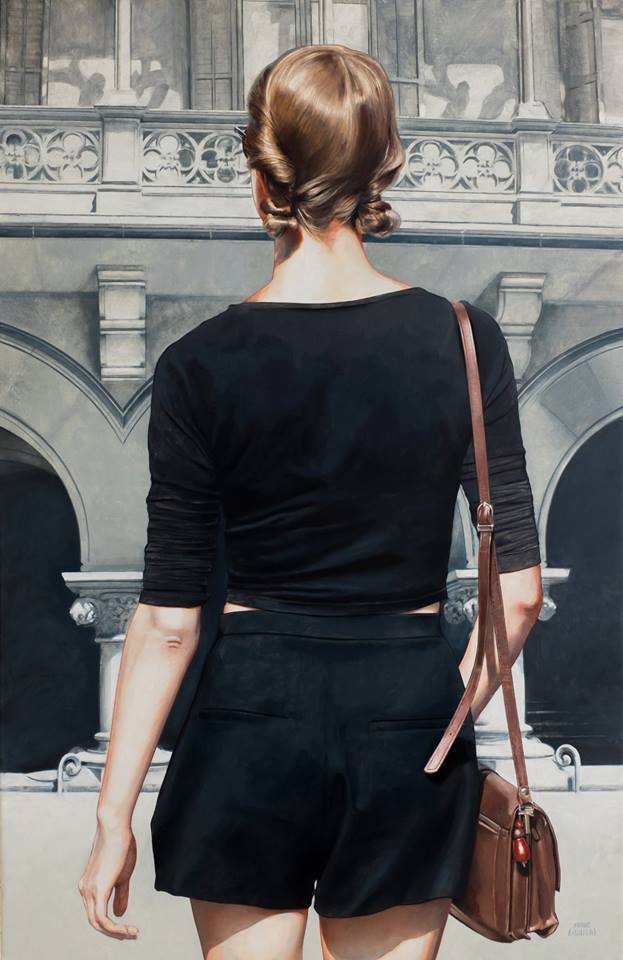 The Hyper-realistic Paintings Of Marc Figueras – Featuring Beautiful Women & Elegant Buildings