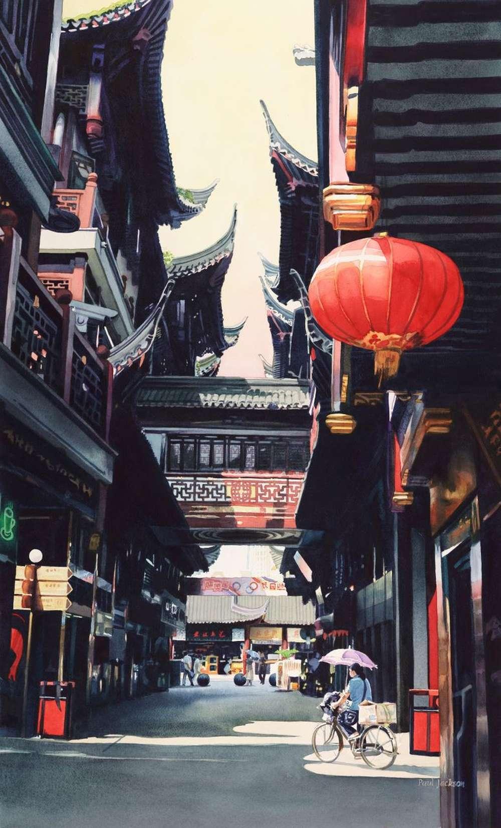 paul-jackson-watercolor_shanghai-market